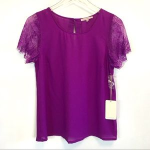 NWT 41 Hawthorn for Stitch Fix Lace Sleeve Top
